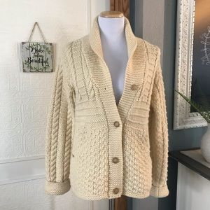 J. Crew Wool Cable Knit Cream Color Sweater Medium